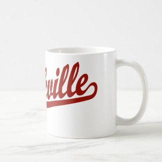 Rockville script logo in red coffee mug