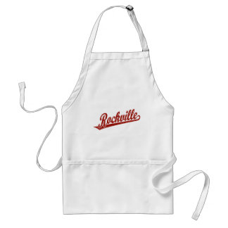 Rockville script logo in red distressed adult apron