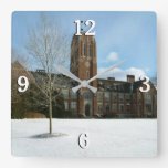 Rockwell in Winter at Grove City College Square Wall Clock