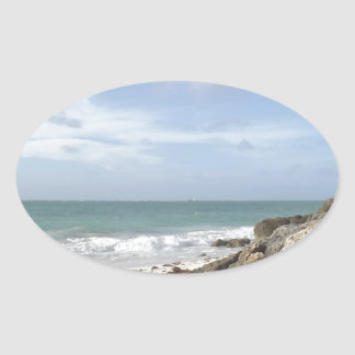 Rocky Beach at Port Lucaya, Freeport, Bahamas Oval Sticker