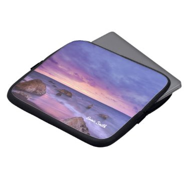 Beach Themed Rocky Beach at Sunset Personalized Laptop Sleeve