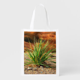 Rocky Beach Grass Grocery Bags