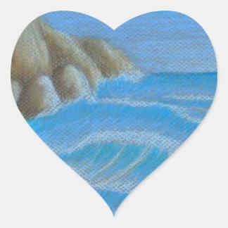 Rocky beach heart sticker