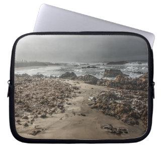 Rocky Beach in the Fog 2 Laptop Sleeve