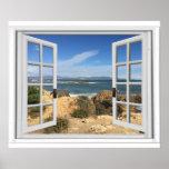 Rocky Beach Ocean View Fake Window Poster