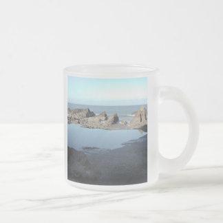 Rocky Beach. Scenic Coastal View. 10 Oz Frosted Glass Coffee Mug