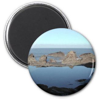 Rocky Beach. Scenic Coastal View. 2 Inch Round Magnet