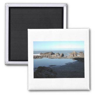 Rocky Beach. Scenic Coastal View. 2 Inch Square Magnet