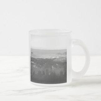 Rocky Beach. Scenic Coastal View. Black and White. 10 Oz Frosted Glass Coffee Mug