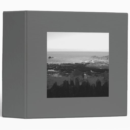 Rocky Beach. Scenic Coastal View. Black and White. 3 Ring Binder