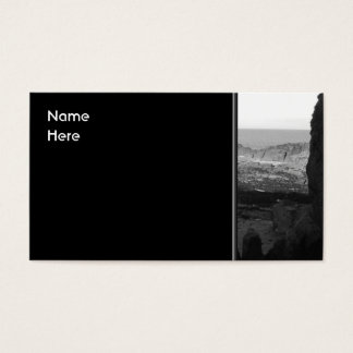 Rocky Beach. Scenic Coastal View. Black and White. Business Card