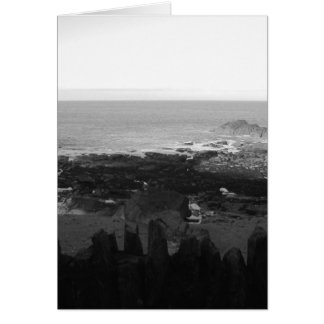 Rocky Beach. Scenic Coastal View. Black and White. Card