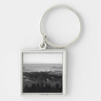 Rocky Beach. Scenic Coastal View. Black and White. Key Chain