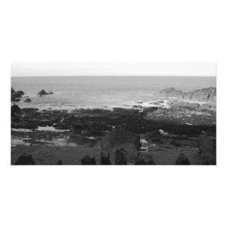 Rocky Beach. Scenic Coastal View. Black and White. Photo Greeting Card
