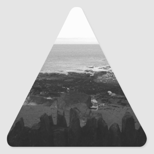 Rocky Beach. Scenic Coastal View. Black and White. Triangle Sticker