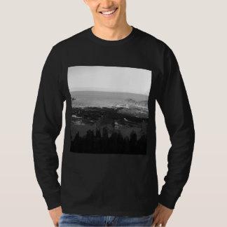 Rocky Beach. Scenic Coastal View. Black and White. T-Shirt
