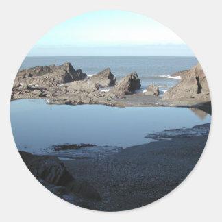 Rocky Beach. Scenic Coastal View. Classic Round Sticker