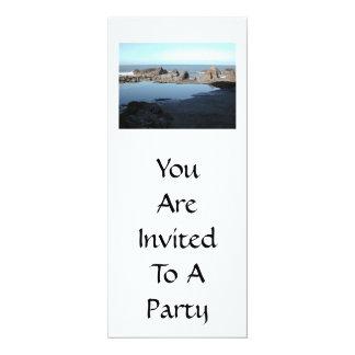 Rocky Beach. Scenic Coastal View. 4x9.25 Paper Invitation Card