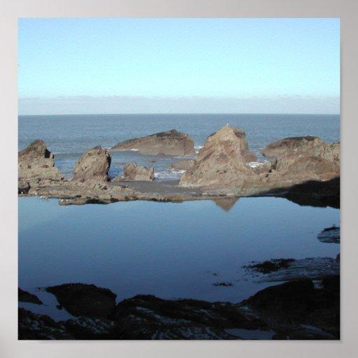 Rocky Beach. Scenic Coastal View. Poster