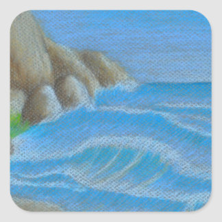 Rocky beach square sticker
