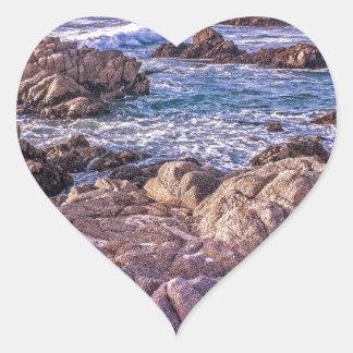 Rocky Beach Sunset Heart Sticker