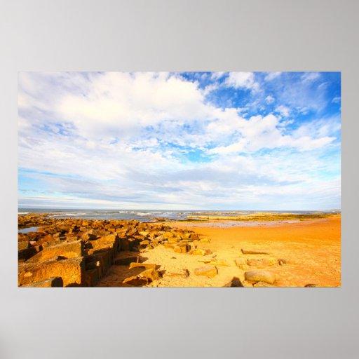 Rocky beach with beautiful sky, Scotland Poster