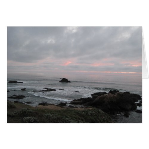 Rocky Cambria, California,  Coastline at Sunset Card