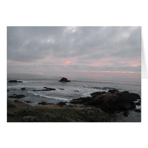 Rocky Cambria, California,  Coastline at Sunset Card