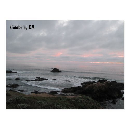 Rocky Cambria, California, Coastline at Sunset Postcard