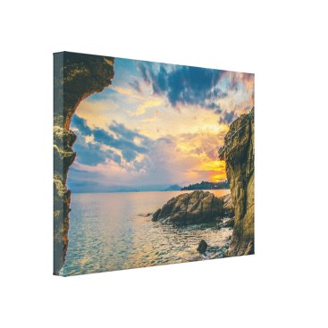 Beach Themed Rocky Cliffs of the Sea Canvas Print