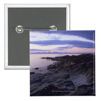 Rocky Coast at Sunset in Kintyre, Argyll, Scotland Pinback Button