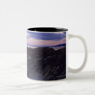 Rocky Coast at Sunset in Kintyre, Argyll, Scotland Two-Tone Coffee Mug