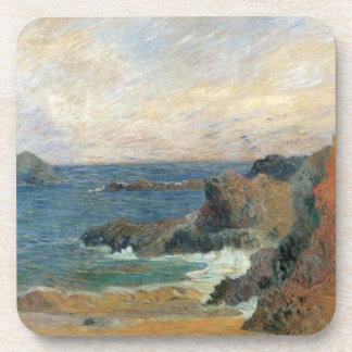 Rocky Coast by Paul Gauguin, Vintage Impressionism Beverage Coaster