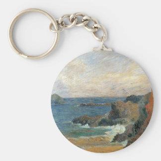 Rocky Coast by Paul Gauguin, Vintage Impressionism Keychain