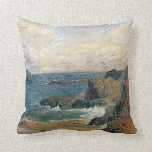 Rocky Coast by Paul Gauguin, Vintage Impressionism Pillow
