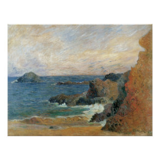 Rocky Coast by Paul Gauguin, Vintage Impressionism Poster