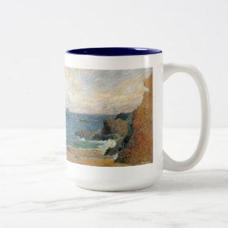 Rocky Coast by Paul Gauguin, Vintage Impressionism Two-Tone Coffee Mug