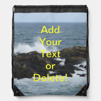Rocky Coast in York Maine Drawstring Backpack