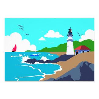 Rocky Coast Lighthouse Custom Announcements