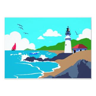 Rocky Coast Lighthouse 5x7 Paper Invitation Card