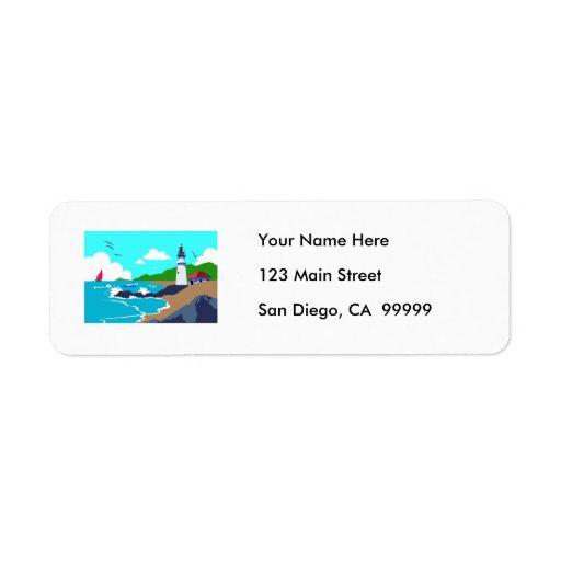 Rocky Coast Lighthouse Return Address Labels