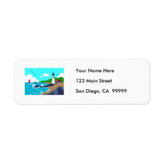 Rocky Coast Lighthouse Return Address Label