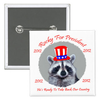Rocky For President Square Botton Pinback Button
