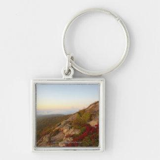 Rocky Hillside, Red Flowers, Acadia National Park Keychain