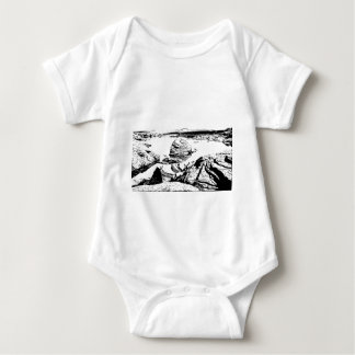 Rocky Lake in Pen and Ink Baby Bodysuit