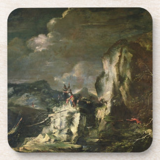 Rocky Landscape with a Huntsman and Warriors (oil Drink Coasters