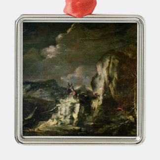 Rocky Landscape with a Huntsman and Warriors (oil Christmas Ornaments