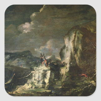Rocky Landscape with a Huntsman and Warriors (oil Square Sticker