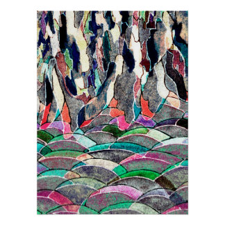Rocky Meadow Colorful Abstract Art Print