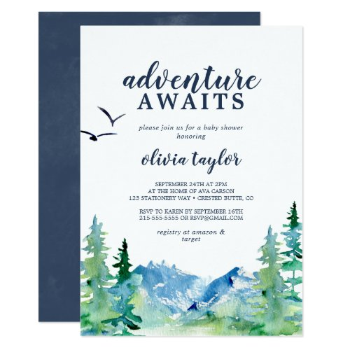 Rocky Mountain Adventure Awaits Baby Shower Invitation